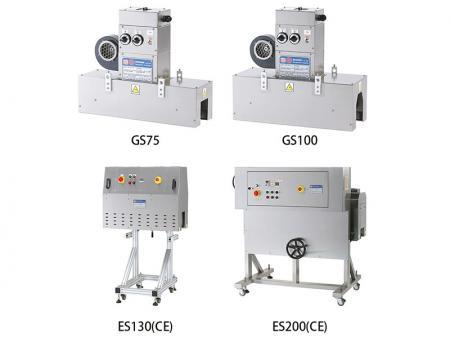标签瓶口收缩机 - GS直吹式隧道型电热收缩炉,适合收缩标签专用;ES为内炉隧道型循环式收缩炉,适合收缩瓶套专用。