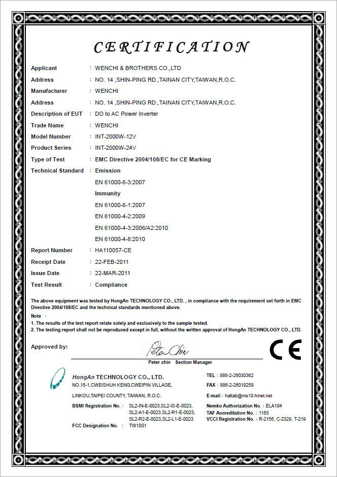 Certification Wenchi Brothers Co Ltd