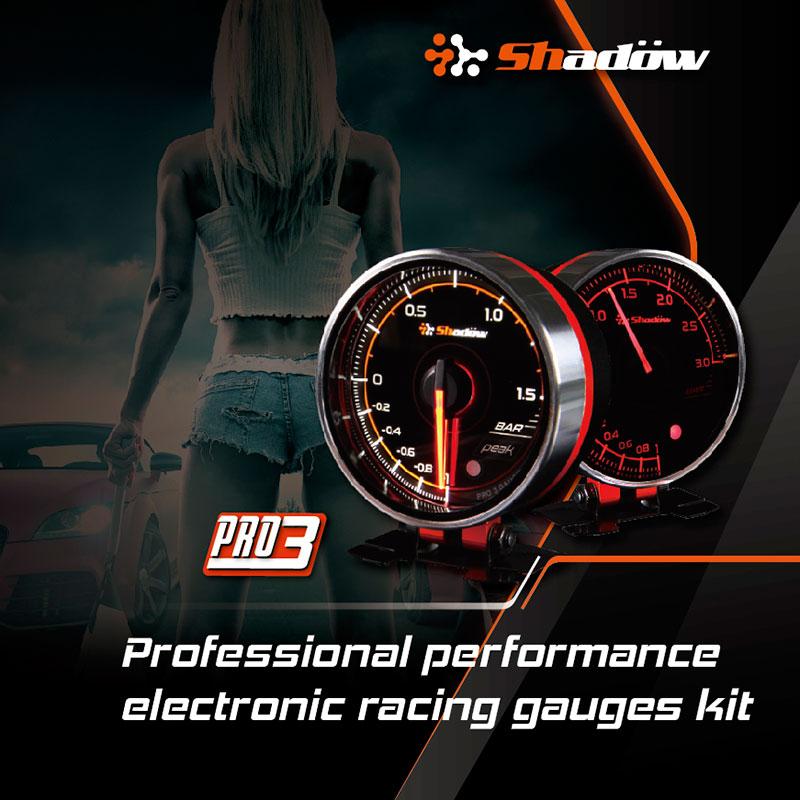 Les jauges de course électriques Shadow PRO3 12V DC ont une LED blanche et rouge.