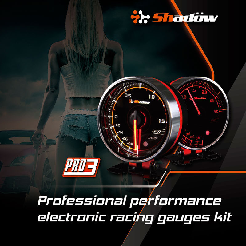 Shadow PRO3 12V DC Electric Racing Gauges Have White and Red LED.