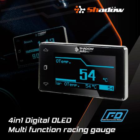 4-in-1 Digital OLED Multi-Function Gauge - OLED Gauge is still clearly visible even if the sun shines in the daytime.