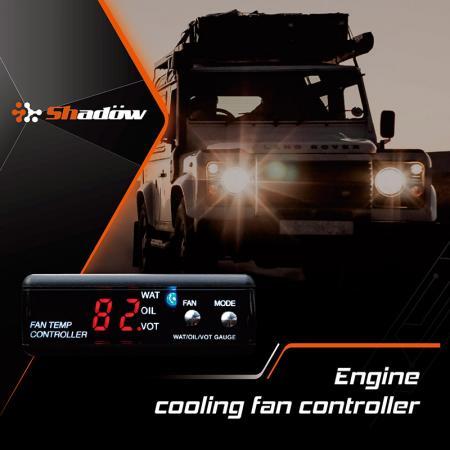 エンジン冷却ファンコントローラーは、水温、油温、電圧値をチェックできます