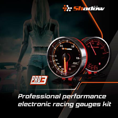 Kit de jauges de course électriques Performance - Les jauges de course électriques Shadow PRO3 12V DC ont une LED blanche et rouge.