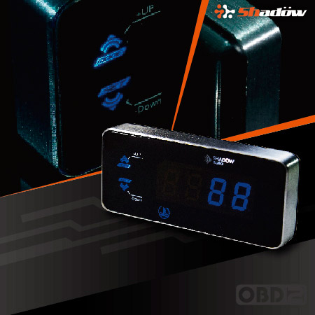 OBD2 digital multi meter has hidden backlit buttons.