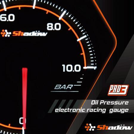 Wskaźnik wyścigowy ciśnienia oleju - Zakres pomiarowy miernika wyścigowego ciśnienia oleju wynosi od 0 bar do 10 bar.