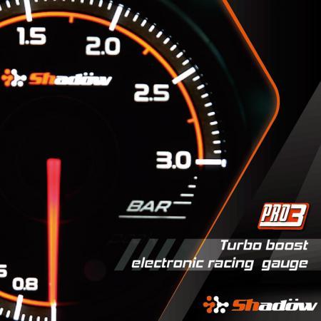 Indicatore di corsa Turbo Boost - L'intervallo di misurazione del manometro da corsa Turbo Boost va da - 1,0 bar a 3,0 bar.