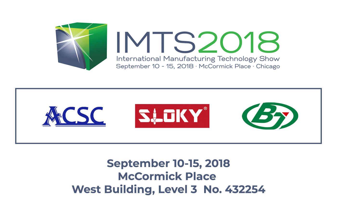 Sloky will attend IMTS 2018 in Chicago