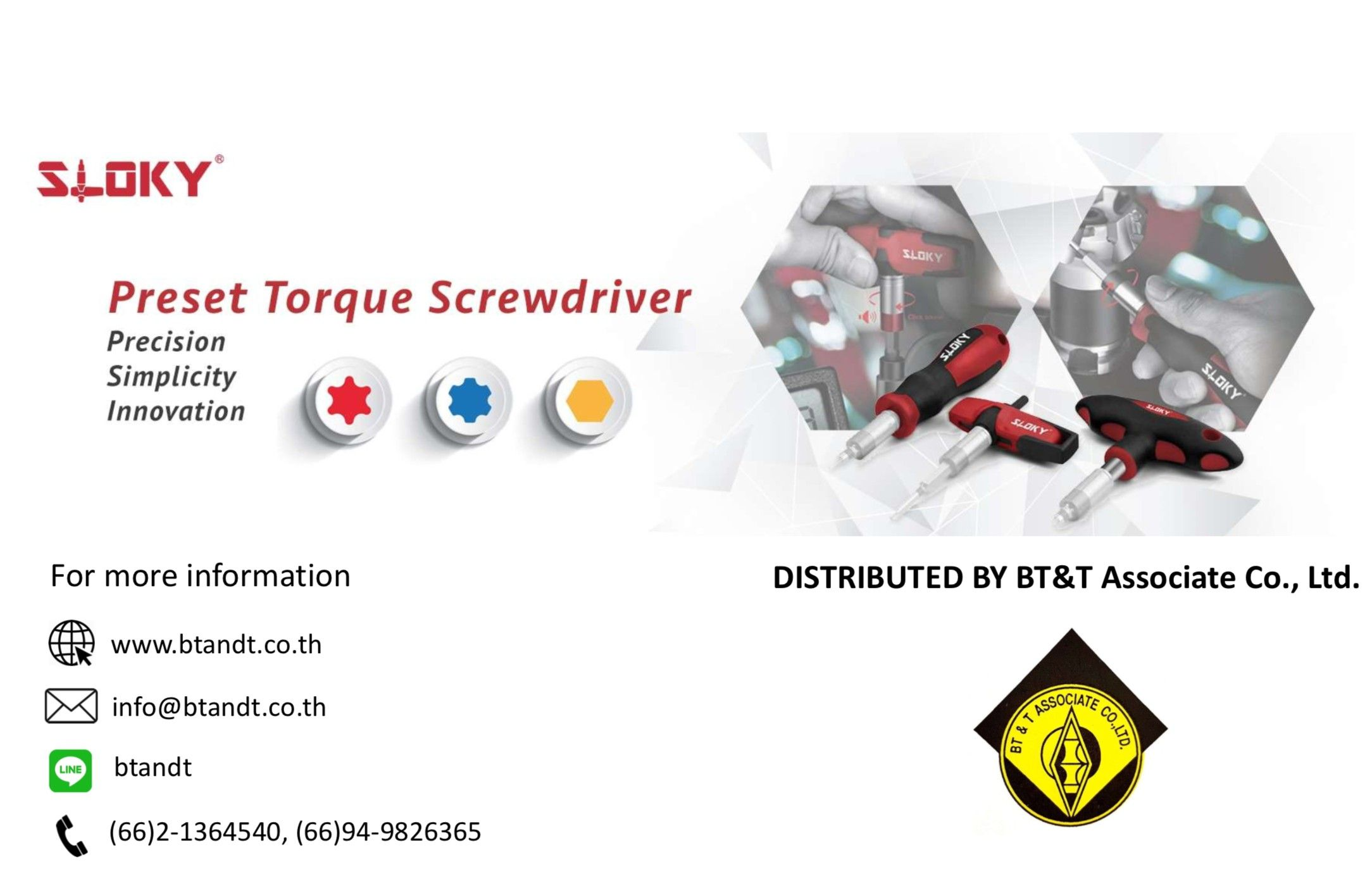 Sloky torque screwdriver promoted by BT&T in Thailand; originally designed for CNC cutting tools of precision machining and milling.