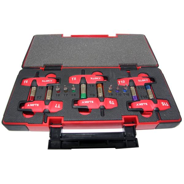 Expert Kit Sloky Drehmomentschraubendreher mit Bits von Hex, Torx und Torx Plus für verschiedene Nm Drehmomentadapter. Benutzerfreundlich für CNC-Schneidwerkzeug zum Bearbeiten, Drehen und Fräsen.