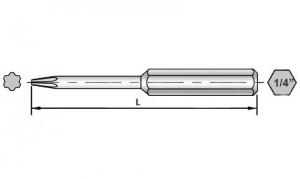 Maßzeichnungen von 50 mm Torx Plus Bits für Sloky Drehmomentschraubendreher (Drehmomentschlüssel).     <br />Benutzerfreundlich für CNC-Schneidwerkzeug zum Bearbeiten, Drehen und Fräsen.