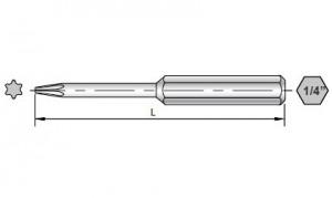 Maßzeichnungen von 50-mm-Torx-Bits für Sloky-Drehmomentschraubendreher (Drehmomentschlüssel). <br />Benutzerfreundlich für CNC-Schneidwerkzeug zum Bearbeiten, Drehen und Fräsen.