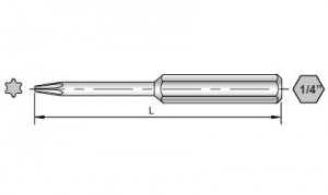Dimensional Drawings of 50mm Torx Bits for Sloky torque screwdriver (torque wrench). User friendly for CNC cutting tool of machining, turning and milling.