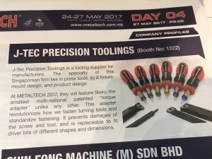 We did it, again!! Chienfu Sloky in Metaltech news day 4 by J-Tec - Chienfu Sloky in METALTECH, 24 – 27 May, 2017 • Malaysia Come and check our CNC precision, lathing, milling and turning parts; of course also Sloky Torque screwdriver and wrenches for all different application including Shooting/Hunting, Circuit board, Tire pressure detector, Bicycle, DIY Market, Drum, Lens, 3C devices and Golf Club. User friendly for CNC cutting tools of machining, lathing, turning, and milling parts.
