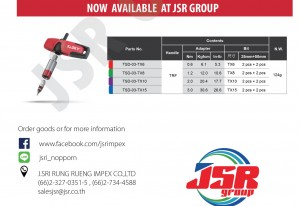 Sloky扭力起子于泰国JSR Group经销贩售 - Sloky torque screwdriver promoted by JSR Group in Thailand; originally designed for CNC cutting tools of precision machining and milling.