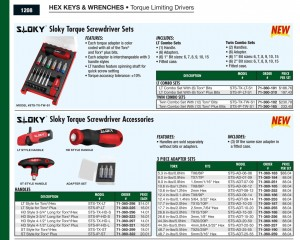 Sloky into Travers Tool Co. catalog, page 1208, by ASCS in USA - Big congrates for Sloky torque screwdriver to be in Travers catalog for CNC cutting tools application of precision machining