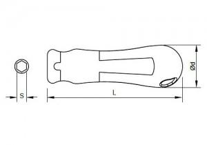 Maßzeichnungen des Slim-Fit-Griffs für Sloky-Drehmomentschraubendreher (Drehmomentschlüssel). <br />Benutzerfreundlich für CNC-Schneidwerkzeug zum Bearbeiten, Drehen und Fräsen.