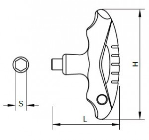 Dimensional Drawings of T-Flying handle for Sloky torque screwdriver (torque wrench). User friendly for CNC cutting tool of machining, turning and milling.