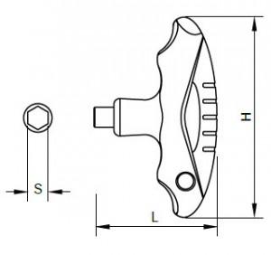 Maßzeichnungen des T-Flying-Griffs für Sloky-Drehmomentschraubendreher (Drehmomentschlüssel). Benutzerfreundlich für CNC-Schneidwerkzeug zum Bearbeiten, Drehen und Fräsen.