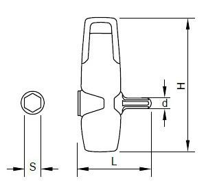 Maßzeichnungen des Universalgriffs für Sloky Drehmomentschraubendreher (Drehmomentschlüssel). Benutzerfreundlich für CNC-Schneidwerkzeug zum Bearbeiten, Drehen und Fräsen.