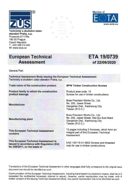 Certifikát ETA ETA19-0739