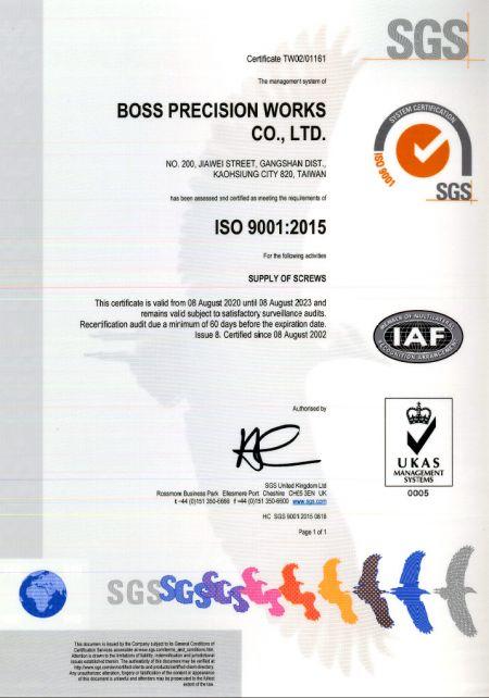 Certifikát SGS ISO-9001: 2015 č. TW02/01161