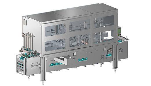 Llenadoras de vasos en línea (ultralimpios) - Llenadora ultralimpia con HEPA y esterilización de tazas y tapas.