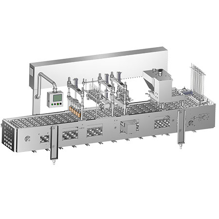 Linear Ice Cream Fillers - Linear ice cream filler constructed in 5 lanes with heat sealing workstation.