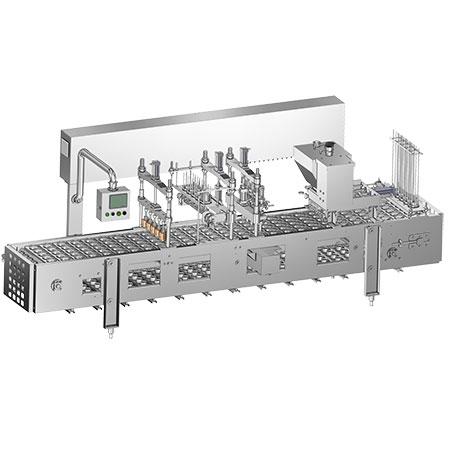Rellenos de helado lineales - Llenadora de helado lineal construida en 5 carriles con puesto de trabajo de termosellado.