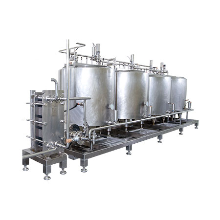 CIP Systems - Four-tank CIP system with supply pump and plate & frame heat exchanger.