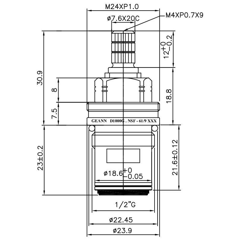 "1/2 Half Inch Lead-Free Brass Two Handle Faucet HDU Type 7.6 X 20C Teeth 405 Broach Type 1/2""G 90 Degree Clockwise Turn Close Ceramic Cartridge"