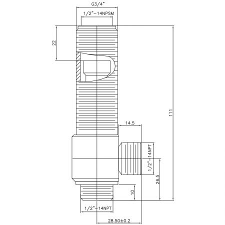 """1/2 Half Inch SV102 Type Side Body G3/4"""" Body Thread 1/2""""-14NPSM Inlet 1/2""""-14NPSM Outlet Widespread Rough-in Valve - 1/2 Half Inch SV102 Type Side Body G3/4"""" Body Thread 1/2""""-14NPSM Inlet 1/2""""-14NPSM Outlet Widespread Rough-in Valve"""