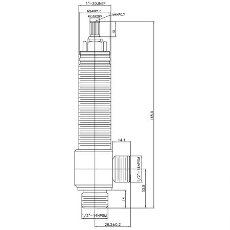 """1/2 Half Inch SV107 Type Side Body 1""""-20UNEF Body Thread 1/2""""-14NPSM Inlet 1/2""""-14NPSM Outlet Widespread Rough-in Valve - 1/2 Half Inch SV107 Type Side Body 1""""-20UNEF Body Thread 1/2""""-14NPSM Inlet 1/2""""-14NPSM Outlet Widespread Rough-in Valve"""