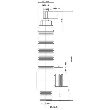"""1/2 Half Inch SV108 Type Side Body W27-19G Body Thread 1/2""""-14NPT Inlet 1/2""""-14NPSM Outlet Widespread Rough-in Valve - 1/2 Half Inch SV108 Type Side Body W27-19G Body Thread 1/2""""-14NPT Inlet 1/2""""-14NPSM Outlet Widespread Rough-in Valve"""