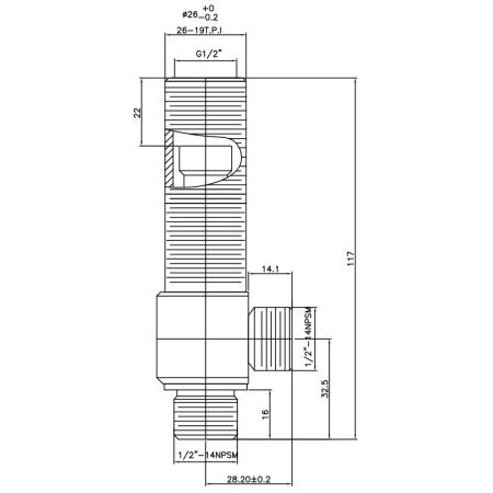 """1/2 Half Inch SV109 Type Side Body 26-19T.P.I Body Thread 1/2""""-14NPSM Inlet 1/2""""-14NPSM Outlet Widespread Rough-in Valve - 1/2 Half Inch SV109 Type Side Body 26-19T.P.I Body Thread 1/2""""-14NPSM Inlet 1/2""""-14NPSM Outlet Widespread Rough-in Valve"""