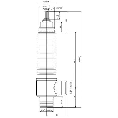 """1/2 Half Inch SV166 Type Side Body M28XP1.5 Body Thread 1/2""""-14NPSM Inlet 1/2""""-14NPSM Outlet Widespread Rough-in Valve - 1/2 Half Inch SV166 Type Side Body M28XP1.5 Body Thread 1/2""""-14NPSM Inlet 1/2""""-14NPSM Outlet Widespread Rough-in Valve"""
