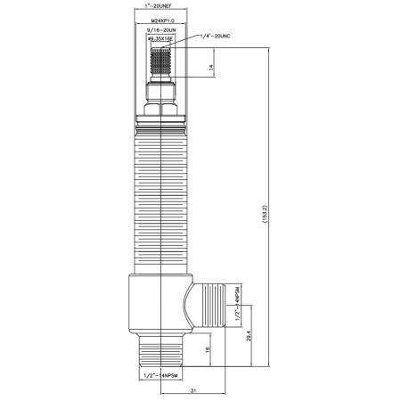 """1/2 Half Inch SV168 Type Side Body 1""""-20UNEF Body Thread 1/2""""-14NPSM Inlet 1/2""""-14NPSM Outlet Widespread Rough-in Valve - 1/2 Half Inch SV168 Type Side Body 1""""-20UNEF Body Thread 1/2""""-14NPSM Inlet 1/2""""-14NPSM Outlet Widespread Rough-in Valve"""