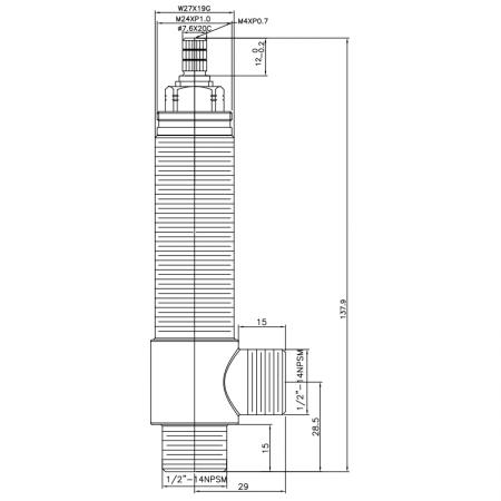 """1/2 Half Inch SV184 Type Side Body W27X19G Body Thread 1/2""""-14NPSM Inlet 1/2""""-14NPSM Outlet Widespread Rough-in Valve - 1/2 Half Inch SV184 Type Side Body W27X19G Body Thread 1/2""""-14NPSM Inlet 1/2""""-14NPSM Outlet Widespread Rough-in Valve"""
