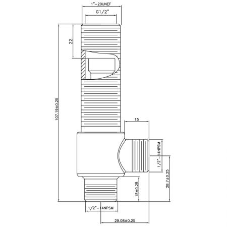 """1/2 Half Inch SV192 Type Side Body 1""""20UNEF Body Thread 1/2""""-14NPSM Inlet 1/2""""-14NPSM Outlet Widespread Rough-in Valve - 1/2 Half Inch SV192 Type Side Body 1""""20UNEF Body Thread 1/2""""-14NPSM Inlet 1/2""""-14NPSM Outlet Widespread Rough-in Valve"""