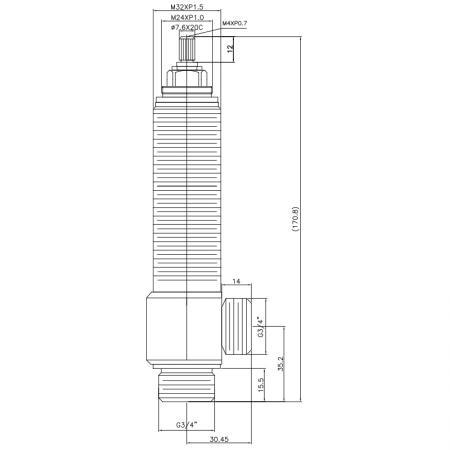 """3/4 Three Quarter Inch SV204 Type Side Body M32XP1.5 Body Thread G3/4"""" Inlet G3/4"""" Outlet Widespread Rough-in Valve - 3/4 Three Quarter Inch SV204 Type Side Body M32XP1.5 Body Thread G3/4"""" Inlet G3/4"""" Outlet Widespread Rough-in Valve"""