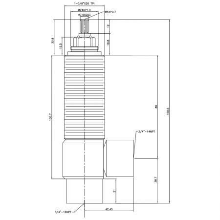 """3/4 Three Quarter Inch SV211 Type Side Body 1-3/8""""X26 T.P.I Body Thread 3/4""""-14NPT Inlet 3/4""""-14NPT Outlet Widespread Rough-in Valve - 3/4 Three Quarter Inch SV211 Type Side Body 1-3/8""""X26 T.P.I Body Thread 3/4""""-14NPT Inlet 3/4""""-14NPT Outlet Widespread Rough-in Valve"""