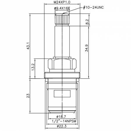 """1/2 Half Inch Messing Zwei-Griff-Wasserhahn CM Typ 9,4 X 16E Zähne 323 Broach Typ 1/2 """"-14NPSM 90 Grad gegen den Uhrzeigersinn drehen Schließen Keramikpatrone - 1/2 Half Inch Messing Zwei-Griff-Wasserhahn CM Typ 9,4 X 16E Zähne 323 Broach Typ 1/2 """"-14NPSM 90 Grad gegen den Uhrzeigersinn drehen Schließen Keramikpatrone"""