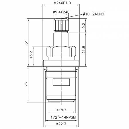 """1/2 Half Inch Messing Zwei-Griff-Wasserhahn CM Typ 9,4 X 24E Zähne 378 Broach Typ 1/2 """"-14NPSM 90 Grad gegen den Uhrzeigersinn drehen Schließen Keramikpatrone - 1/2 Half Inch Messing Zwei-Griff-Wasserhahn CM Typ 9,4 X 24E Zähne 378 Broach Typ 1/2 """"-14NPSM 90 Grad gegen den Uhrzeigersinn drehen Schließen Keramikpatrone"""