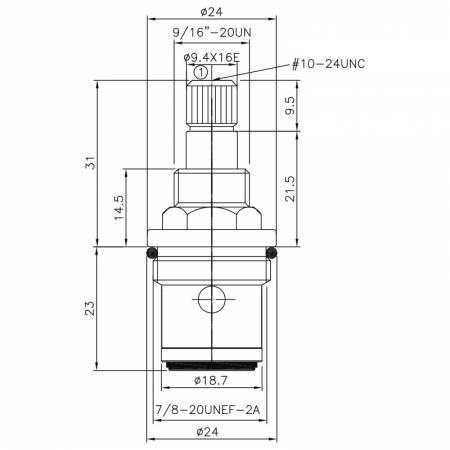 1/2 halbe Zoll Messing zwei Griff Wasserhahn CR Typ 9.4 X 16E Zähne 106 Ahle Typ 7 / 8-20UNEF-2A 90 Grad gegen den Uhrzeigersinn drehen Keramikpatrone schließen - 1/2 halbe Zoll Messing zwei Griff Wasserhahn CR Typ 9.4 X 16E Zähne 106 Ahle Typ 7 / 8-20UNEF-2A 90 Grad gegen den Uhrzeigersinn drehen Keramikpatrone schließen