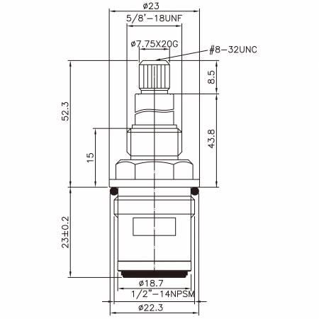 "1/2 Half Inch Brass Two Handle Faucet HAK Type Lead-Washing 7.75 X 20G Teeth 261 Broach Type 1/2""-14 NPSM 90 Degree Clockwise Turn Close Ceramic Cartridge - 1/2 Half Inch Brass Two Handle Faucet HAK Type Lead-Washing 7.75 X 20G Teeth 261 Broach Type 1/2""-14 NPSM 90 Degree Clockwise Turn Close Ceramic Cartridge"