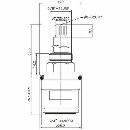 "3/4 Three Quarter Inch Brass Two Handle Faucet HAV Type Lead Washing 7.75 X 20G Teeth 262 Broach Type 3/4""-14NPSM 90 Degree Clockwise Turn Close Ceramic Cartridge - 3/4 Three Quarter Inch Brass Two Handle Faucet HAV Type Lead Washing 7.75 X 20G Teeth 262 Broach Type 3/4""-14NPSM 90 Degree Clockwise Turn Close Ceramic Cartridge"