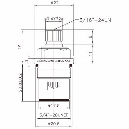 "3/8 Three Eight Inch Brass Two Handle Faucet HCC Type 9.4 X 32A Teeth 326 Broach Type 3/4""-20UNEF 90 Degree Clockwise Turn Close Ceramic Cartridge - 3/8 Three Eight Inch Brass Two Handle Faucet HCC Type 9.4 X 32A Teeth 326 Broach Type 3/4""-20UNEF 90 Degree Clockwise Turn Close Ceramic Cartridge"