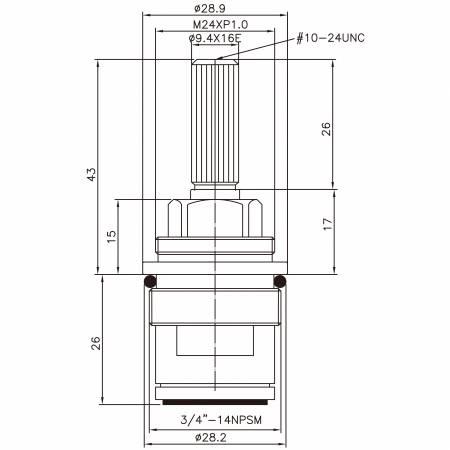 "3/4 Quarter Inch Brass Two Handle Faucet HCG Type 9.4 X 16E Teeth 130 Broach Type 3/4""-14NPSM 90 Degree Clockwise Turn Close Ceramic Cartridge - 3/4 Three Quarter Inch Brass Two Handle Faucet HCG Type 9.4 X 16E Teeth 130 Broach Type 3/4""-14NPSM 90 Degree Clockwise Turn Close Ceramic Cartridge"