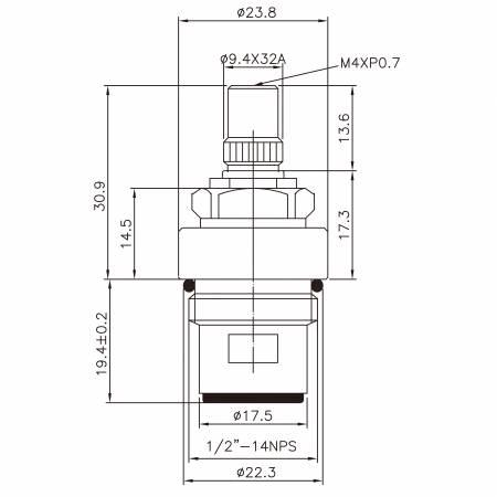 "3/8 Three Eight Inch Brass Two Handle Faucet HDF Type Lead-Washing 9.4 X 32A Teeth 384 Broach Type 1/2""-14NPSM 90 Degree Clockwise Turn Close Ceramic Cartridge - 3/8 Three Eight Inch Brass Two Handle Faucet HDF Type Lead-Washing 9.4 X 32A Teeth 384 Broach Type 1/2""-14NPSM 90 Degree Clockwise Turn Close Ceramic Cartridge"