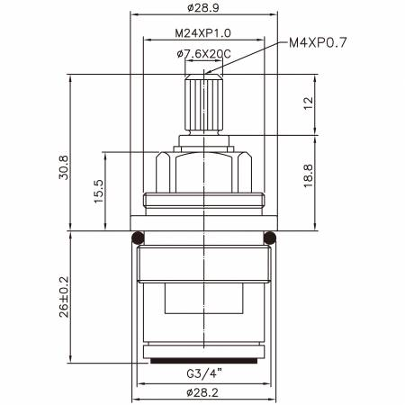 """3/4 Quarter Inch Brass Two Handle Faucet HDT Type 7.6 X 20C Teeth 402 Broach Type G3 / 4 """"90 Degree Clockwise Turn Close Cartridge Seramik - 3/4 Quarter Inch Brass Two Handle Faucet HDT Type 7.6 X 20C Teeth 402 Broach Type G3 / 4 """"90 Degree Clockwise Turn Close Cartridge Seramik"""