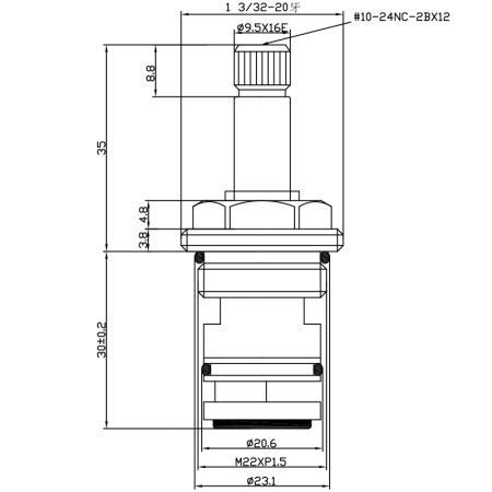 1/2 Half Inch 2 Way Brass HGX Type Baking Varnish 1-3/32-20 16 Teeth 548 Broach Type M22XP1.5 180 Degree Clockwise Turn Diverter Cartridge - 1/2 Half Inch 2 Way Brass HGX Type Baking Varnish 1-3/32-20 16 Teeth 548 Broach Type M22XP1.5 180 Degree Clockwise Turn Diverter Cartridge